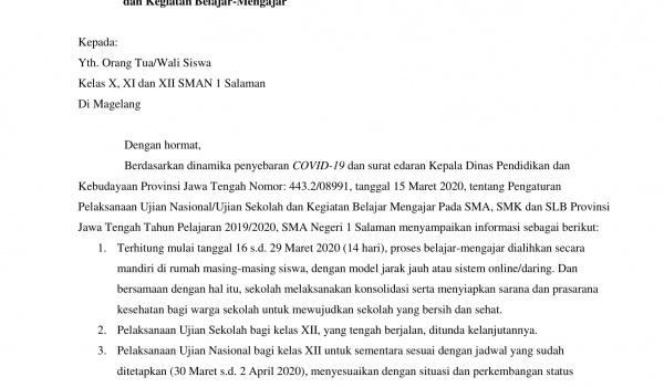 Surat Edaran Kepala Sekolah SMA N 1 Salaman Mengenai Virus Covid-19