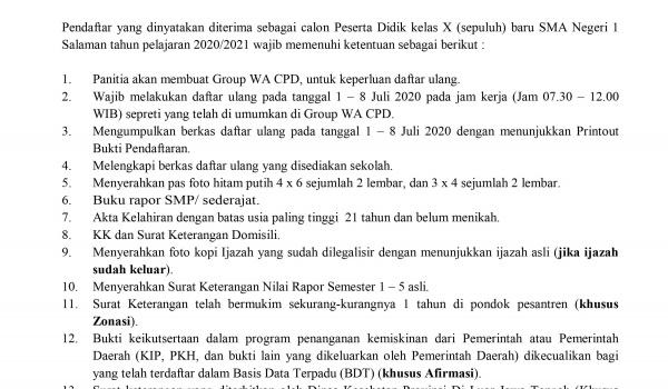 Syarat Daftar Ulang PPDB SMA Negeri 1 Salaman tahun pelajaran 2020/2021