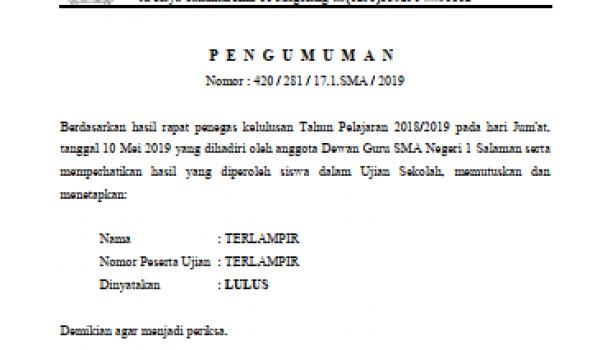 Pengumuman Kelulusan Siswa SMA N 1 Salaman tahun ajaran 2018 / 2019